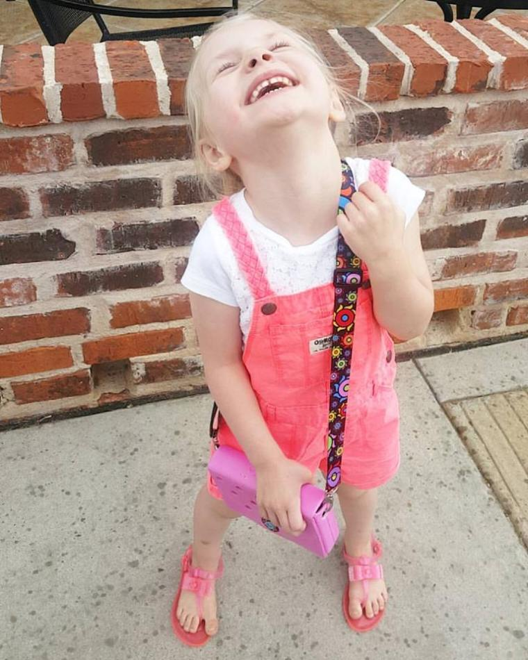 Melody laughing in rain